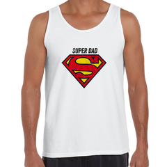 Super Dad Retro Superman DC Comix Action Hero White Unisex Tank Top