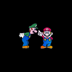 Luigi & Mario Super Mario Mens Retro Unisex Black T-Shirts OLD SKOOL Free Delivery