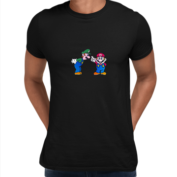 Luigi & Mario Super Mario Mens Retro Unisex White T-Shirts OLD SKOOL Free Delivery