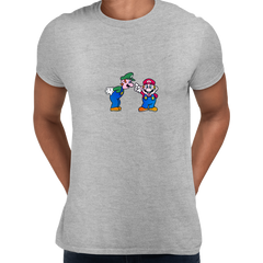 Luigi & Mario Super Mario Mens Retro Unisex Grey T-Shirts OLD SKOOL Free Delivery