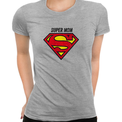 Super Mom Retro Superman DC Comix Action Hero Grey T-shirt for Women