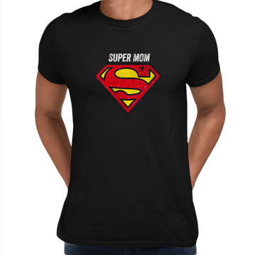 Super Mom Retro Superman DC Comix Action Hero Grey Unisex T-shirt