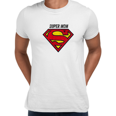 Super Mom Retro Superman DC Comix Action Hero White Unisex T-shirt