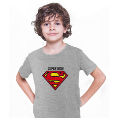 Super Mom Retro Superman DC Comix Action Hero Grey T-shirt for Kids