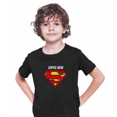Super Mom Retro Superman DC Comix Action Hero Black T-shirt for Kids