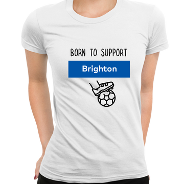 Women Born to Support For Brighton Football Club Ladies Eco Crew Neck Grey T-Shirt