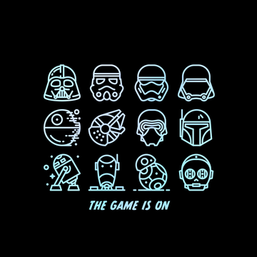 The Game Is On Star Wars Iconic Helmet and Figures from the Movie White Tank Top