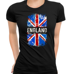 Union Jack Abstract Print Women Black T-Shirt Great Britain Flag