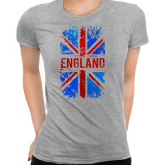 Union Jack Abstract Print Women Grey T-Shirt Great Britain Flag