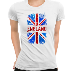 Union Jack Abstract Print Women White T-Shirt Great Britain Flag