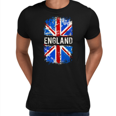 Union Jack Abstract Print Mens Black T-Shirt Great Britain Flag