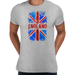 Union Jack Abstract Print Mens Grey T-Shirt Great Britain Flag