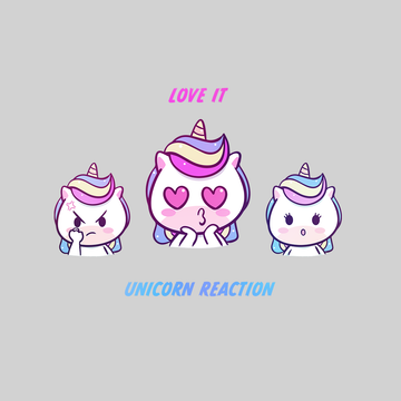 Unicorn Emoji Reaction Love Angry Excited Unisex Black and White Tee