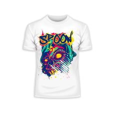 Kuzi Tees Urban Graffiti Spoon Skull White