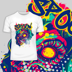 Kuzi Tees Urban Graffiti Spoon Skull