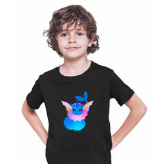 Vaporeon Pokemon Go Black T-shirt for Kids Boys Girls Brand New