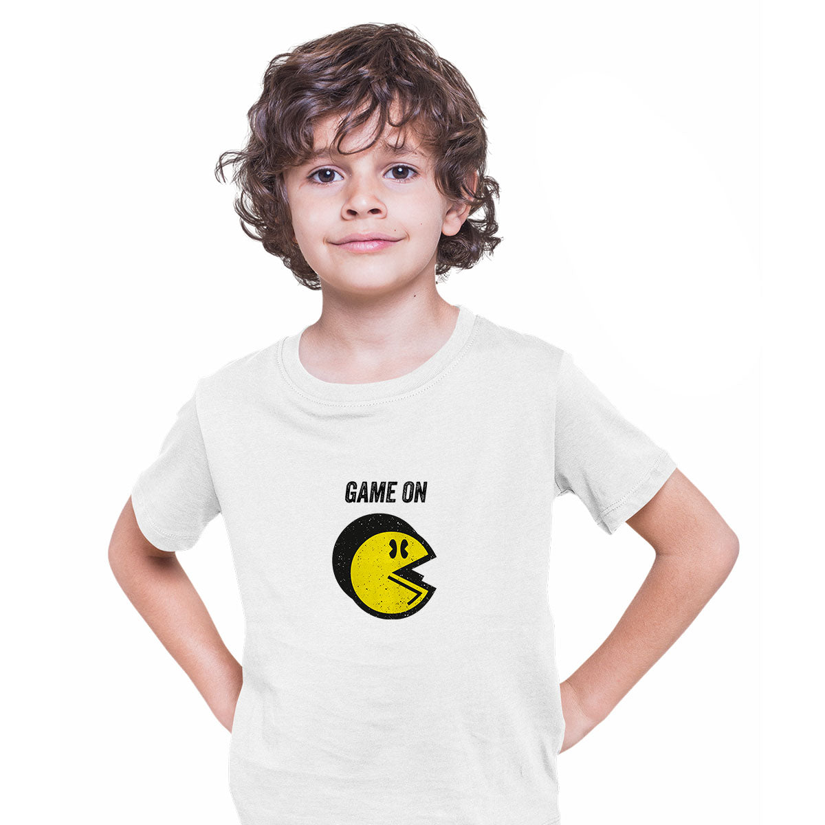 Vintage PACMAN T-SHIRT for Kids Cool Retro 70s 80s Arcade PC Video Games White