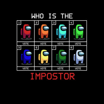 Who is The Impostor Among Us Gamer Funny Gift Tee Top Black T-shirt for Women Xmas