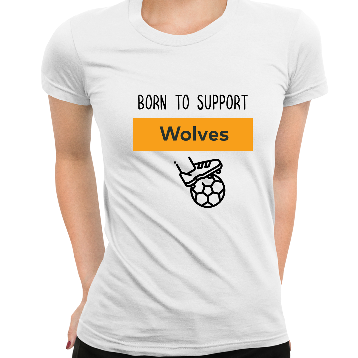 Women Born to Support For Wolves Football Club Ladies Eco Crew Neck White T-Shirt