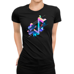 Women's Abstract 3D multi-color geometrical composition Black T-Shirt
