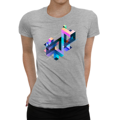 Women's Abstract 3D multi-color geometrical composition Grey T-Shirt