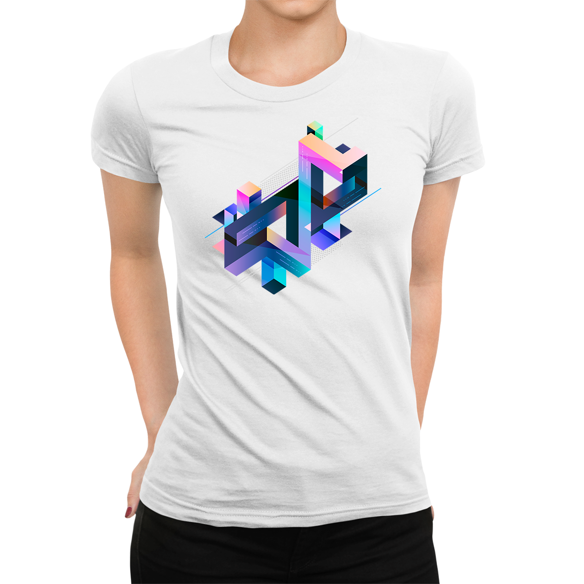 Women's Abstract 3D multi-color geometrical composition White T-Shirt