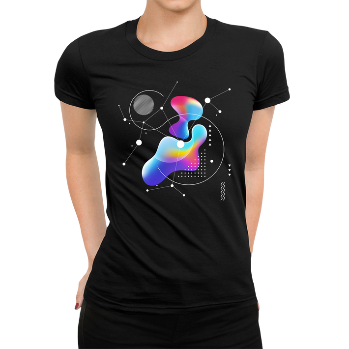 Women's Abstract Colorful Gradient Mesh & Geometric Line Art Drawing Crew neck Black T-shirt