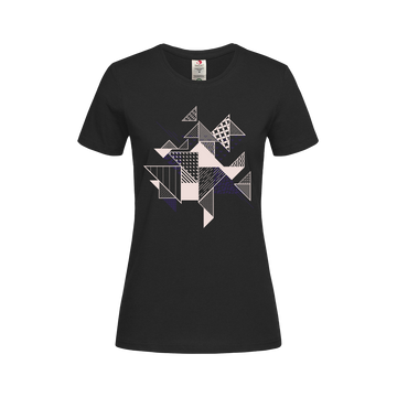 Abstract Flat Art Background With Geometric Elements Crew neck White T-shirt