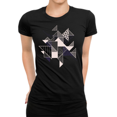Abstract Flat Art Background With Geometric Elements Crew neck Black T-shirt