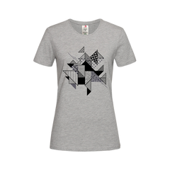 Abstract Flat Art Background With Geometric Elements Crew neck Grey T-shirt