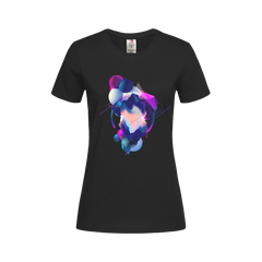 Women's Floating 3D Fluid Abstract Geometric Elements Unique Crew Neck BlackT-shirt
