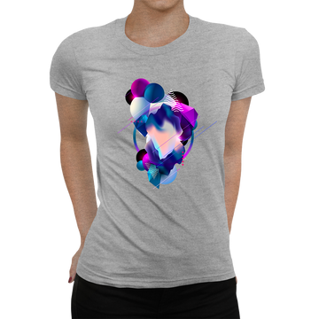 Women's Floating 3D Fluid Abstract Geometric Elements Unique Crew Neck Black T-shirt