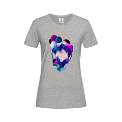 Women's Floating 3D Fluid Abstract Geometric Elements Unique Crew Neck Grey T-shirt