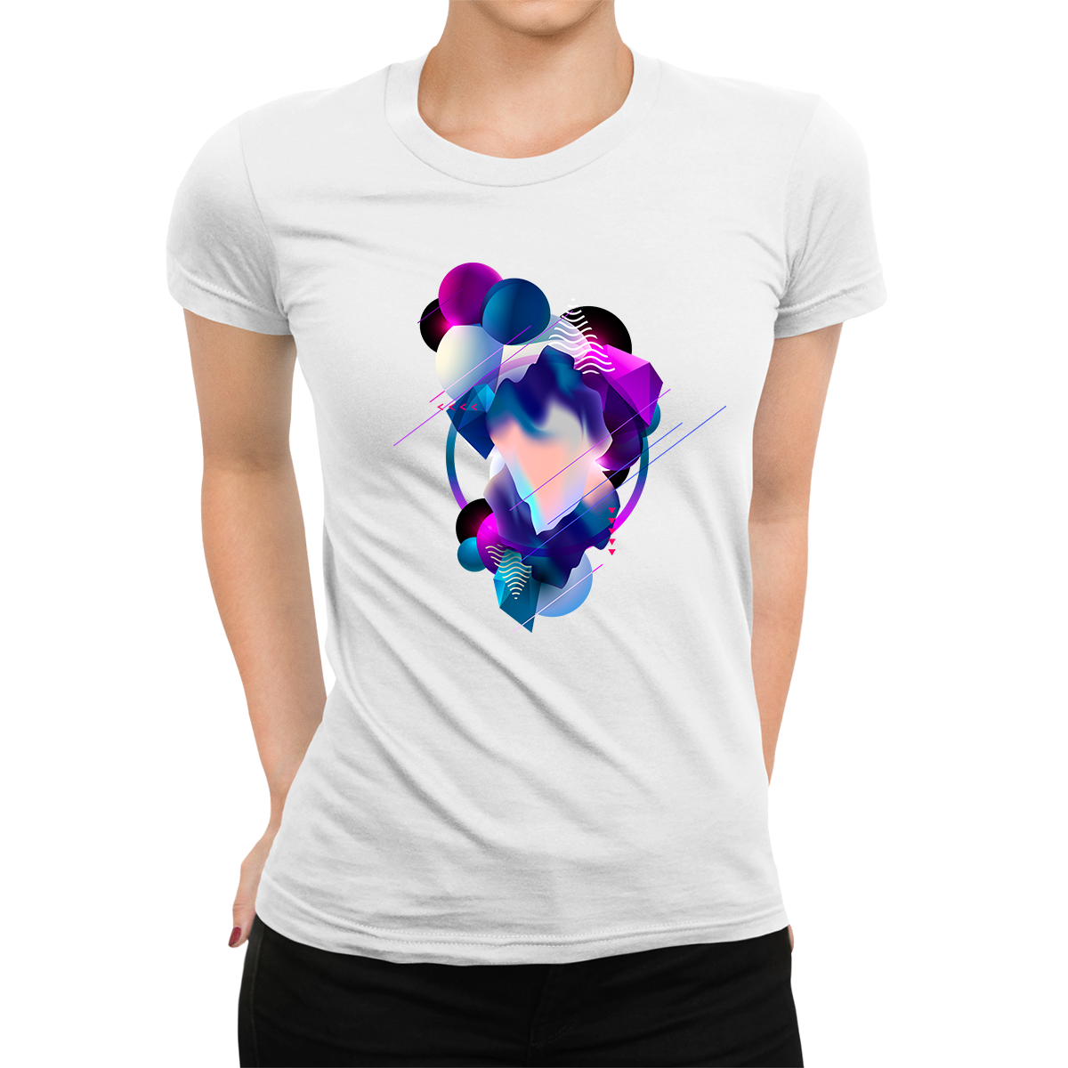 Women's Floating 3D Fluid Abstract Geometric Elements Unique Crew Neck White T-shirt
