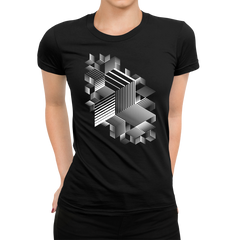 Women's Linear striped abstract 3D dimensional retro style graphic elements One Crew Neck Black T-shirt