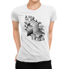 Women's Linear striped abstract 3D dimensional retro style graphic elements One Crew Neck white T-shirt