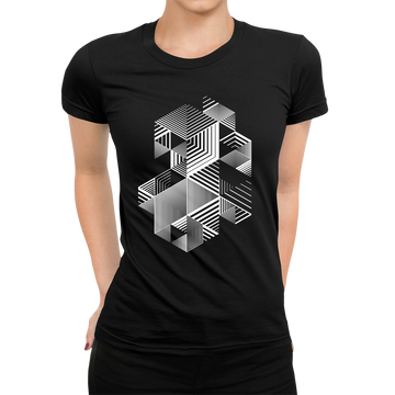 Linear striped abstract 3D dimensional retro style graphic White
