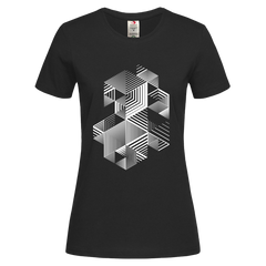 Linear striped abstract 3D dimensional retro style graphic Black