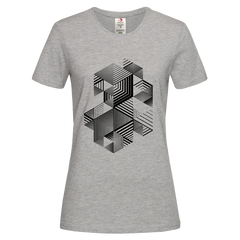 Linear striped abstract 3D dimensional retro style graphic Grey