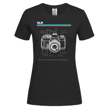 Women's Nikon SLR Old Fashioned Photographer Nostalgia Crew Neck T-Shirt 80 Black