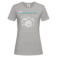 Women's Nikon SLR Old Fashioned Photographer Nostalgia Crew Neck T-Shirt 80 Grey