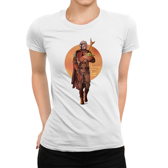 Women's Star Wars The Mandalorian Baby Yoda Sunset Silhouette Crew Neck White T-shirt