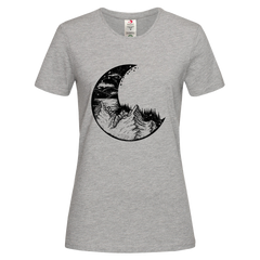 Women's Surreal moon eclipse with forest and mountains Crew Neck Grey T-shirt