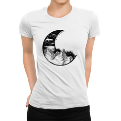 Women's Surreal moon eclipse with forest and mountains Crew Neck White T-shirt