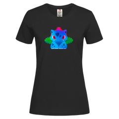 Women's Ivysaur Grass Poison Pokemon Eco T-Shirt Collection Crew Neck BlackT-shirt