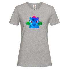 Women's Ivysaur Grass Poison Pokemon Eco T-Shirt Collection Crew Neck Grey T-shirt