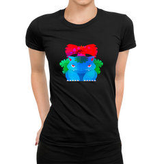 Women's Venusaur Grass-Poison Pokémon Eco T-Shirt Collection Crew Neck Black T-shirt