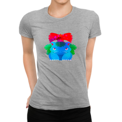 Women's Venusaur Grass-Poison Pokémon Eco T-Shirt Collection Crew Neck Grey T-shirt
