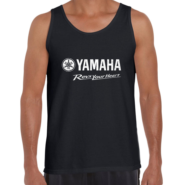 Yamaha Revs Your Heart Motorbike Biker Mens Birthday Gift Racing Black Unisex Tank Top