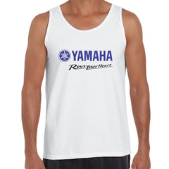 Yamaha Revs Your Heart Motorbike Biker Mens Birthday Gift Racing White Unisex Tank Top